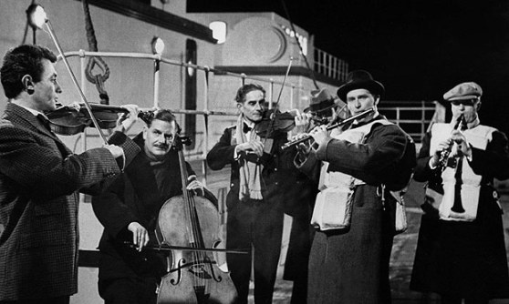 The band plays on as the Titanic sinks – a still from the 1958 film A Night To Remember
